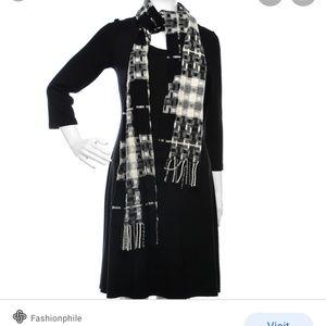 BURBERRY Merino Wool Cashmere Fringe Scarf black